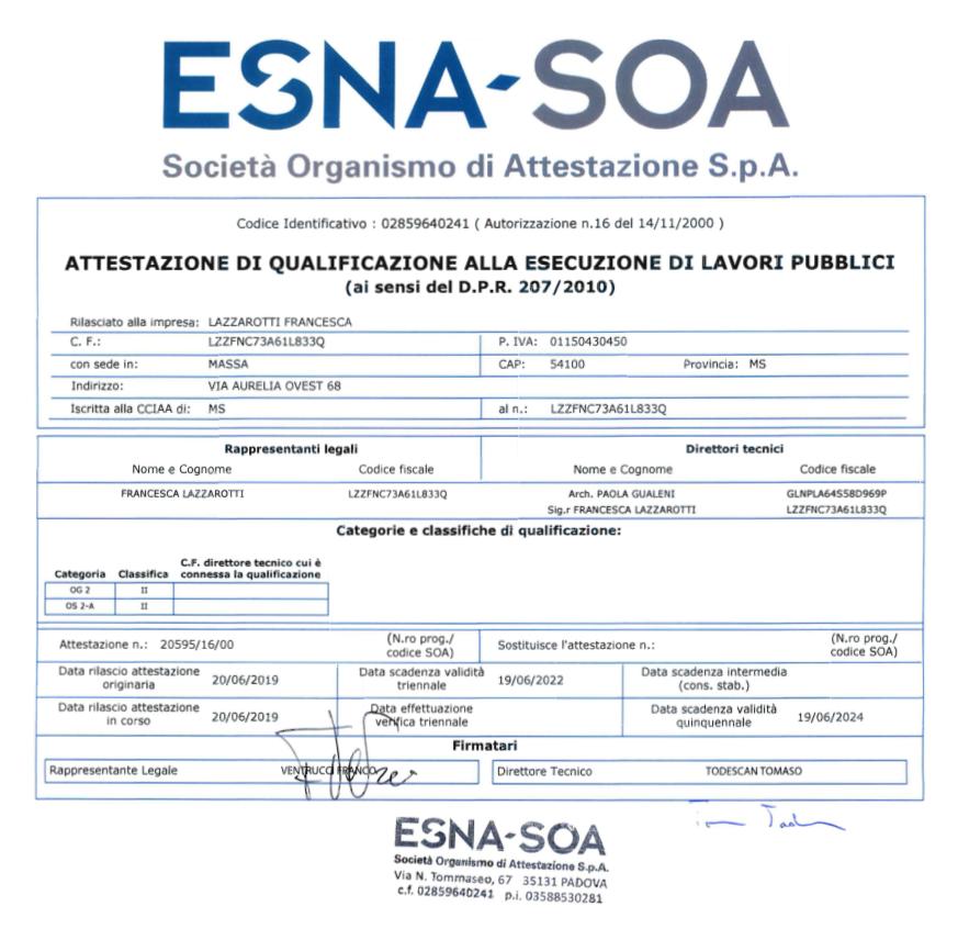 Francesca Lazzarotti Restauri - attestazione di qualificazione alla esecuzione di lavori pubblici SOA 2019